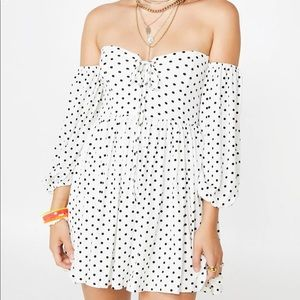 Off the shoulder polka dot mini dress